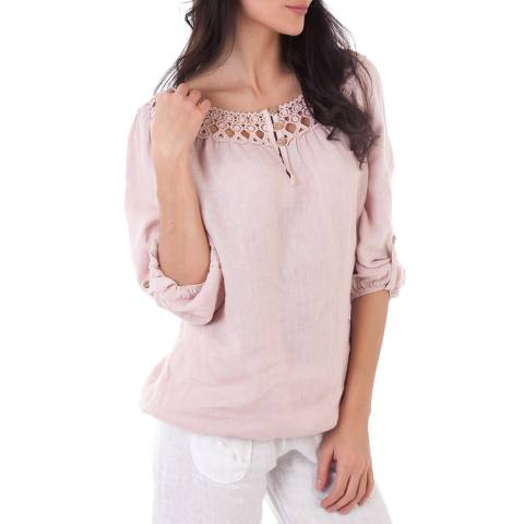 Contemporary Linen by Ouman Rose Three Quarter Length Sleeves Linen Top