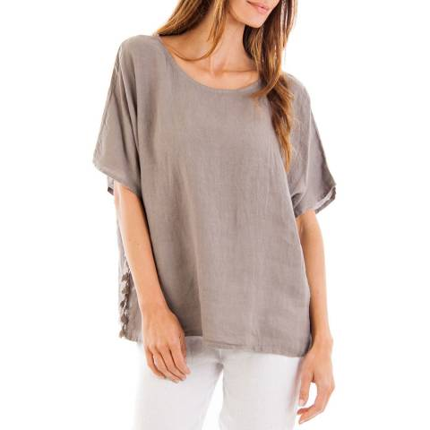Contemporary Linen by Ouman Taupe Tassel Detailing  Linen Tunic