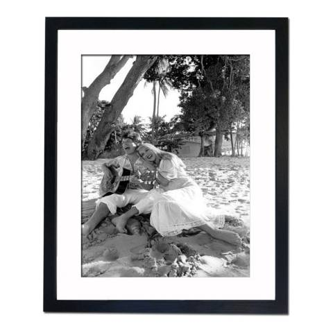 51 DNA Mick Jagger Strumming with Jerry Hall in St Peter Barbados 1983, Framed Art Print