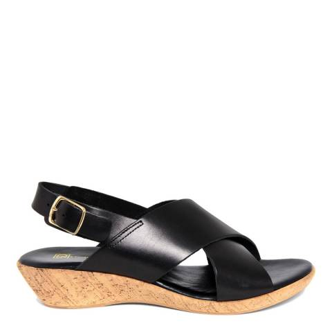 Gagliani Renzo Black Leather Cross Strap Low Wedge Sandals
