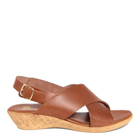 Gagliani Renzo Tan Leather Cross Strap Low Wedge Sandals