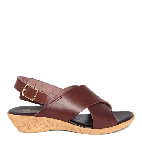 Gagliani Renzo Brown Leather Cross Strap Low Wedge Sandals