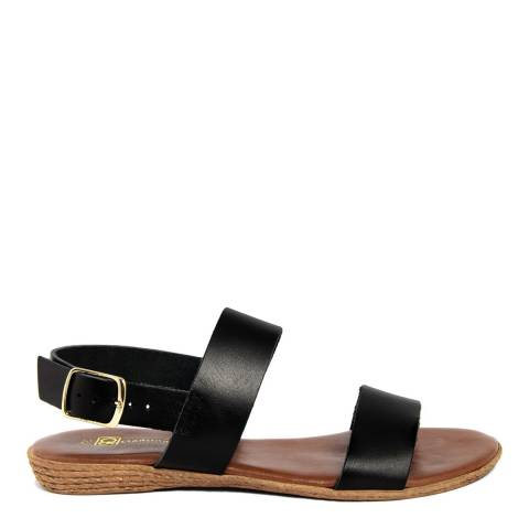 Gagliani Renzo Black Leather Double Strap Sandals