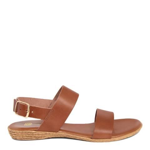 Gagliani Renzo Tan Leather Double Strap Sandals