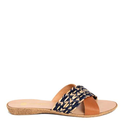 Gagliani Renzo Navy/Tan Leather Weaved Cross Strap Sandals