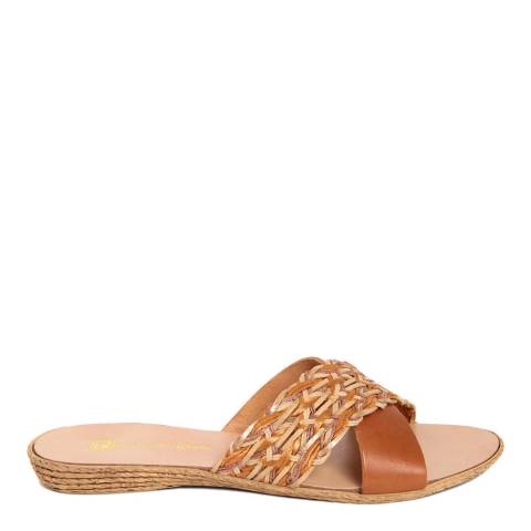 Gagliani Renzo Tan Leather Weaved Cross Strap Sandals
