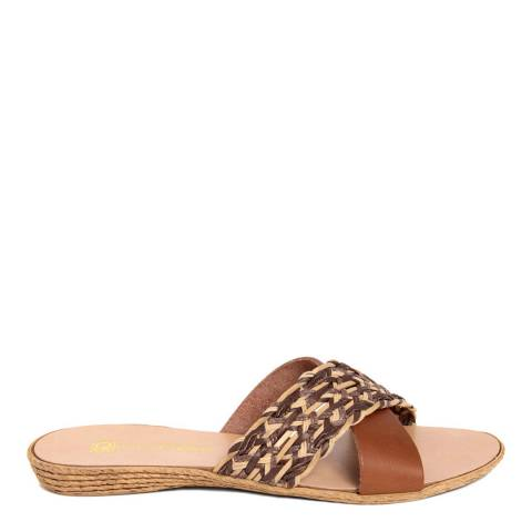 Gagliani Renzo Brown/Tan Leather Weaved Cross Strap Sandals