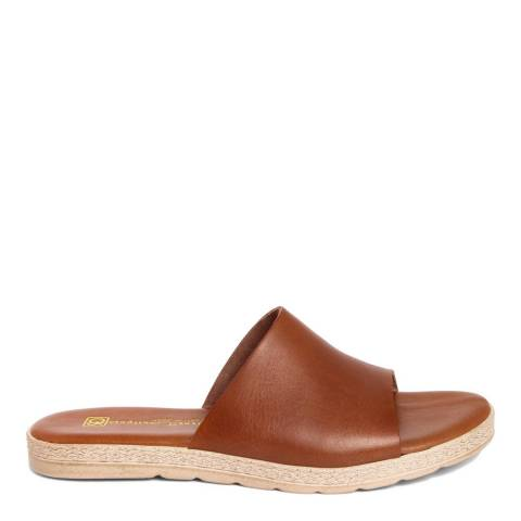 Gagliani Renzo Brown Leather Slip On Sandals