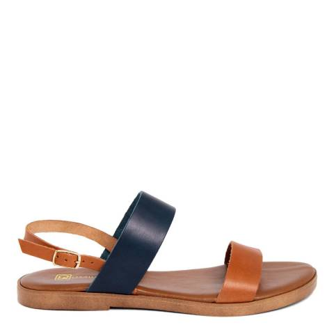 Gagliani Renzo Tan/Blue Leather Double Strap Sandals
