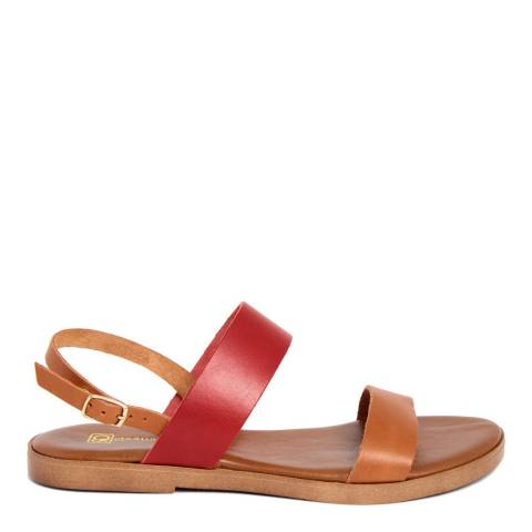 Gagliani Renzo Tan/Red Leather Double Strap Sandals