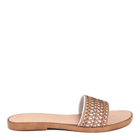 Gagliani Renzo White/Tan Leather Perforated Elastic Sandals