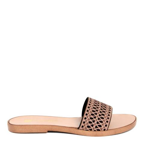Gagliani Renzo Black/Tan Leather Perforated Elastic Sandals
