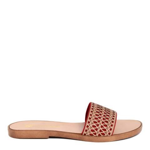 Gagliani Renzo Red/Tan Leather Perforated Elastic Sandals