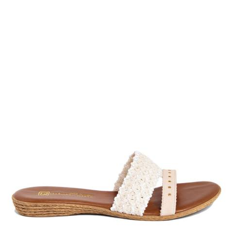 Gagliani Renzo Cream Leather Weaved Double Strap Sandals