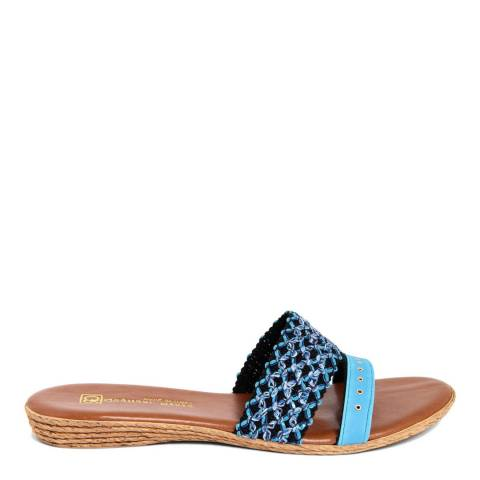 Gagliani Renzo Blue Leather Weaved Double Strap Sandals