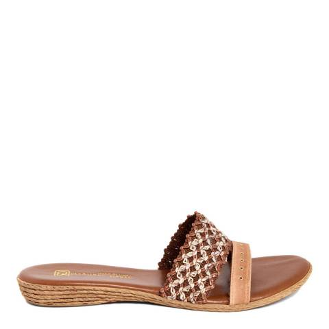 Gagliani Renzo Tan Leather Weaved Double Strap Sandals