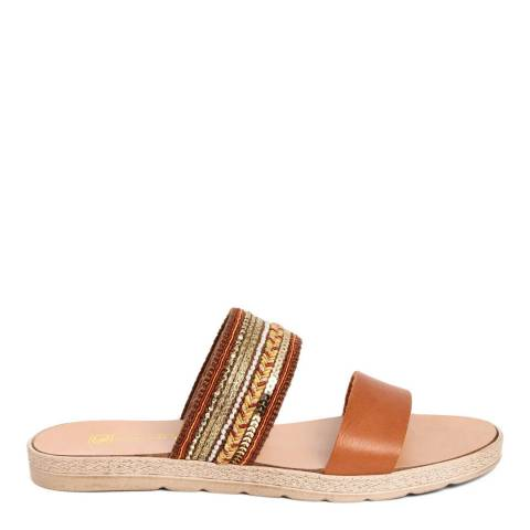 Gagliani Renzo Tan Leather Beaded Double Strap Sandals