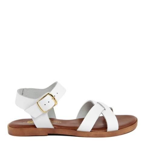 Gagliani Renzo White Leather Cross Strap Sandals