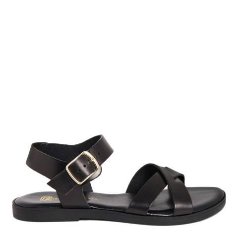 Gagliani Renzo Black Leather Cross Strap Sandals