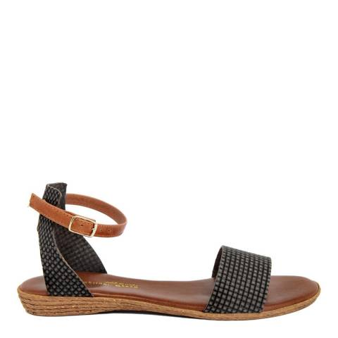 Gagliani Renzo Dark Grey Leather Textured Ankle Strap Sandals