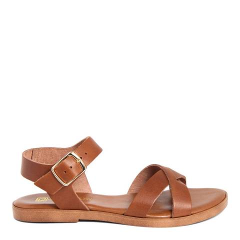 Gagliani Renzo Tan Leather Cross Strap Sandals