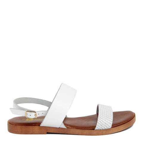Gagliani Renzo White Leather Textured Double Strap Sandals