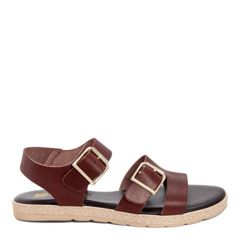 Gagliani Renzo Brown Leather Double Buckle Sandals