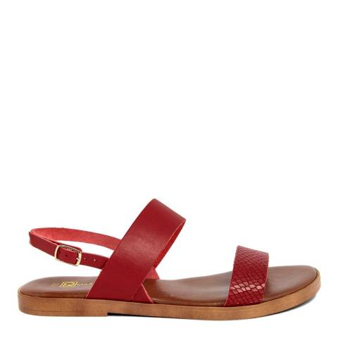 Gagliani Renzo Red Leather Textured Double Strap Sandals