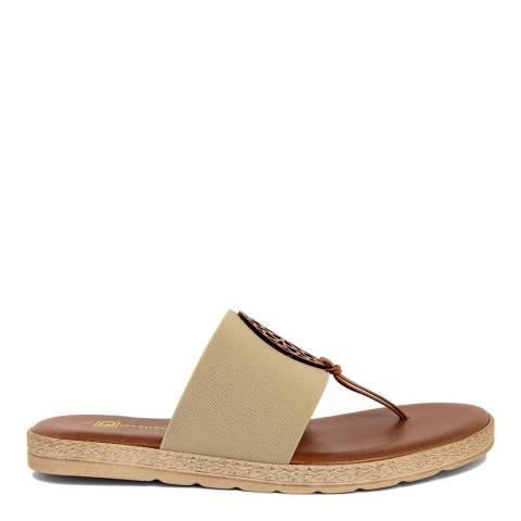 Gagliani Renzo Beige Elastic Toe Thong Sandals