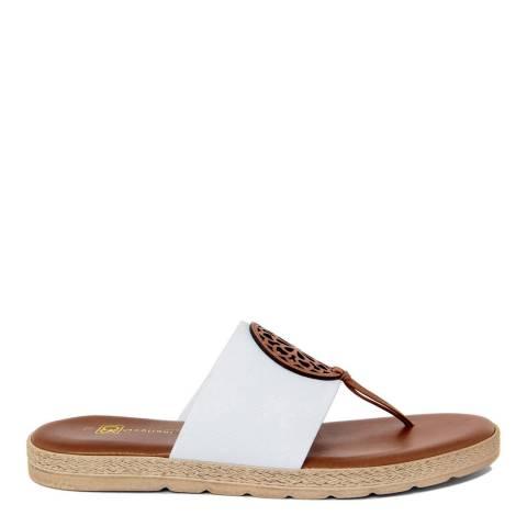 Gagliani Renzo White Elastic Toe Thong Sandals