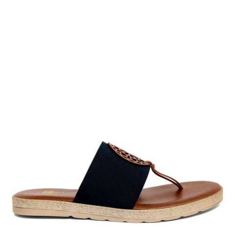Gagliani Renzo Black Elastic Toe Thong Sandals