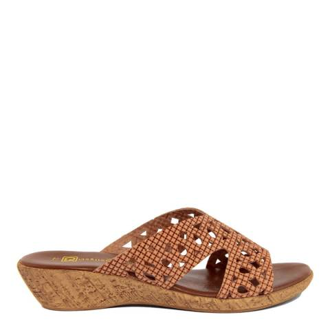 Gagliani Renzo Tan Leather Perforated Low Wedge Sandals