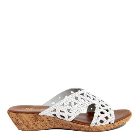 Gagliani Renzo White Leather Perforated Low Wedge Sandals