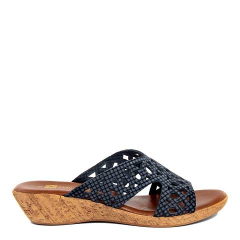 Gagliani Renzo Navy Leather Perforated Low Wedge Sandals