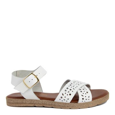 Gagliani Renzo White Leather Perforated Cross Strap Sandals