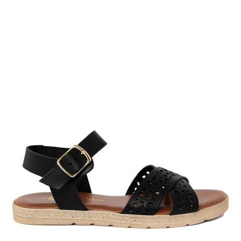 Gagliani Renzo Black Leather Perforated Cross Strap Sandals