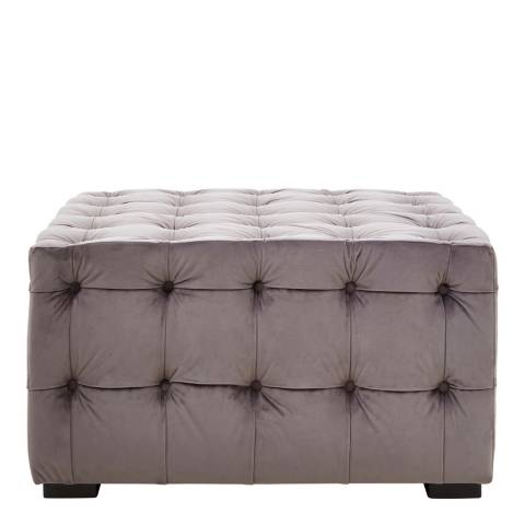 Premier Housewares Stella Button Tufted Footstool, Grey Velvet