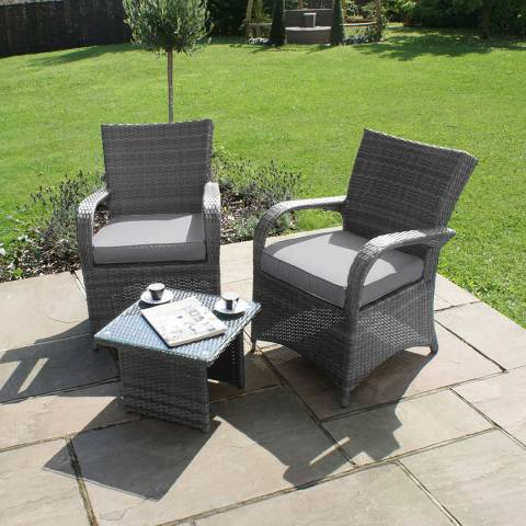 Maze Rattan Texas 3-Piece Lounge Set, Grey