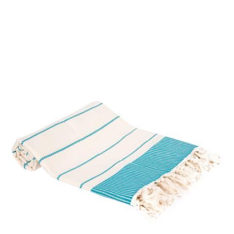 Pandora Pinstripe Hammam Towel, Turquoise