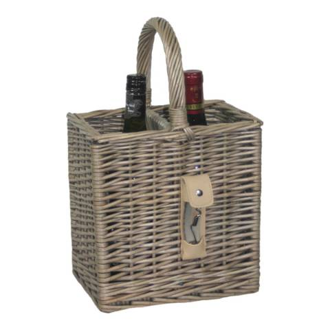 Perfect Picnic Antique Wash Finish 2 Bottle Basket With Opener