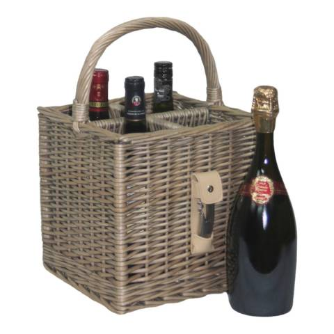 Perfect Picnic Antique Wash Finish 4 Bottle Basket With Opener