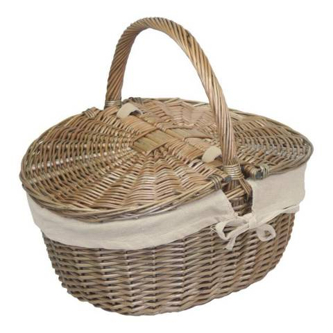 Perfect Picnic Antique Wash Finish Oval Picnic Basket