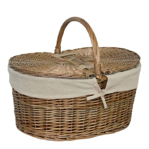 Perfect Picnic Deep Antique Wash Oval Picnic Basket