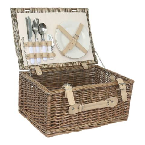 Perfect Picnic Cream Lined 2 Person Hamper