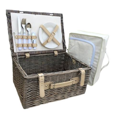 Perfect Picnic Cream Lined 2 Person Hamper With Chiller