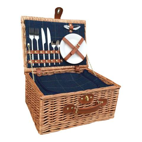 Perfect Picnic 2 Person Blue Tweed Hamper