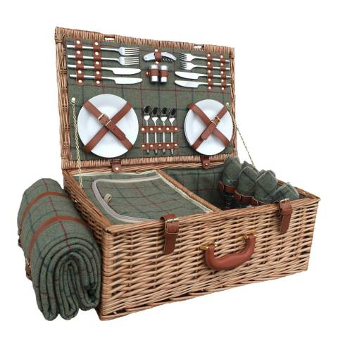 Perfect Picnic 4 Person Green Tweed Hamper