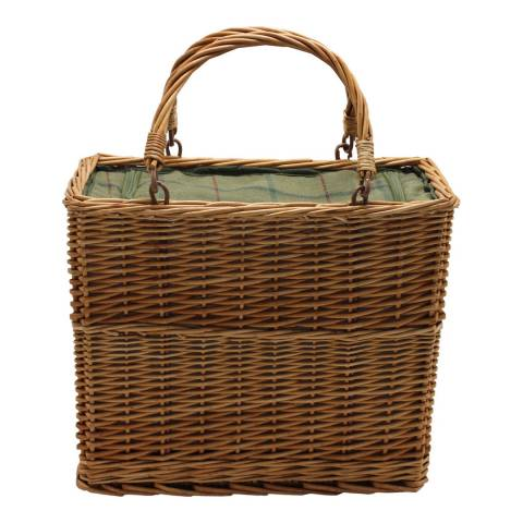 Perfect Picnic Green Tweed Cooler Basket
