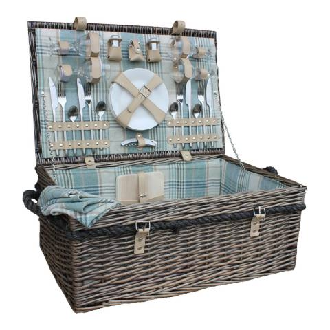 Perfect Picnic 4 Person Deluxe Rope Handled Cream Tartan Hamper