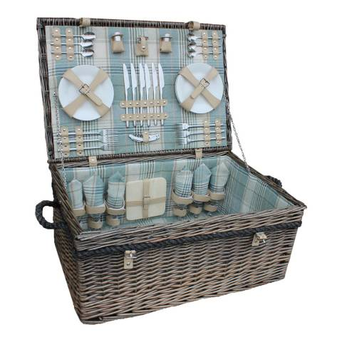 Perfect Picnic 6 Person Deluxe Rope Handled Cream Tartan Hamper